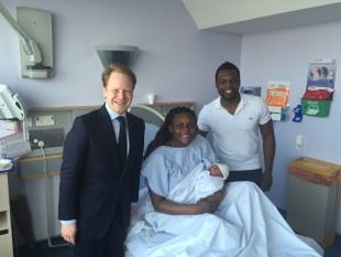 Ben Gummer MP, Laure Djida, Moustapha Djida and their newborn baby.